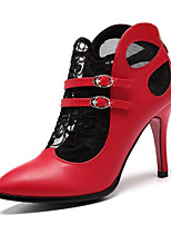 cheap -Women's Shoes Cowhide Spring Basic Pump Heels Stiletto Heel Pointed Toe Buckle Black / Red