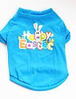 cheap -Dogs / Cats / Pets Shirt / T-Shirt / Sweatshirt / Vest Dog Clothes Flower / Floral / Rabbit / Bunny / Quotes & Sayings Blue Cotton Costume