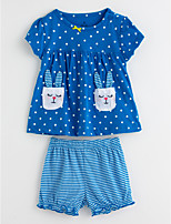 cheap -Toddler Girls' Solid Colored Polka Dot Short Sleeves Clothing Set