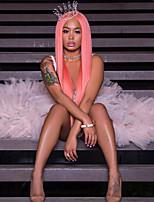 Недорогие -Синтетические кружевные передние парики Прямой Средняя часть 150% Человека Плотность волос Искусственные волосы Жаропрочная Розовый Парик