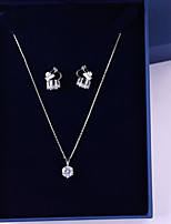 cheap -Women's Cubic Zirconia Jewelry Set - Simple, Fashion Include Drop Earrings / Pendant Necklace White For Wedding / Birthday