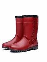 Недорогие -Жен. Обувь КожаПВХ Зима Резиновые сапоги Ботинки На плоской подошве Сапоги до середины икры для Вино