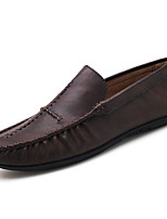 cheap -Men's Shoes PU Spring Fall Comfort Loafers & Slip-Ons for Casual Black Brown Khaki