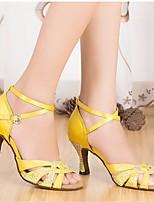 cheap -Women's Latin Shoes Silk Heel Performance / Practice Stiletto Heel Dance Shoes Yellow