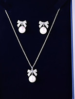 cheap -Women's Cubic Zirconia Jewelry Set - Ball Sweet, Fashion Include Drop Earrings / Pendant Necklace White Bowknot For Wedding / Evening