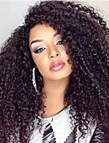 baratos -Cabelo Remy Peruca Cabelo Brasileiro Encaracolado Corte em Camadas 180% Densidade Com Baby Hair Para Mulheres Negras Preta Curto Longo