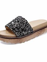cheap -Women's Shoes Paillette PU Summer Comfort Slippers & Flip-Flops Creepers for Casual Gold Black