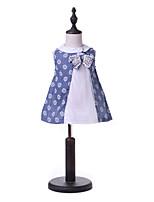 cheap -Kids Girls' Blue & White Geometric Sleeveless Dress