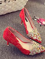 economico -Per donna Scarpe Seta Primavera Comoda Tacchi A stiletto Rosso / Matrimonio