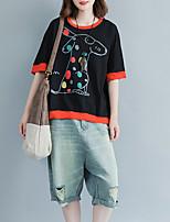 economico -T-shirt Per donna Animali Cotone / Lino / Largo