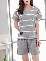 abordables -Col en U Costumes Pyjamas Femme Couleur Pleine