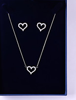 cheap -Women's Cubic Zirconia Jewelry Set - Heart Simple, Fashion Include Drop Earrings / Pendant Necklace White For Wedding / Gift