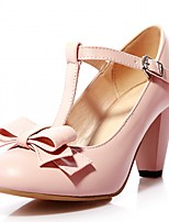 cheap -Women's Shoes Leatherette Fall Comfort / Novelty Heels Chunky Heel Round Toe Bowknot Beige / Green / Pink / Party & Evening