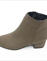 preiswerte -Damen Schuhe Kaschmir Winter Komfort Stiefel Blockabsatz für Normal Schwarz Beige Braun Khaki
