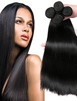 Недорогие -4 Связки Малазийские волосы Прямой Натуральные волосы Человека ткет Волосы / Пучок волос / One Pack Solution 8-28 дюймовый Естественный цвет Ткет человеческих волос Машинное плетение