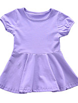 cheap -Kids Girls' Solid Colored Short Sleeve Dress
