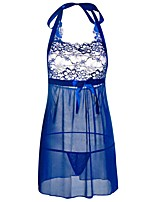 cheap -Women's Babydoll & Slips Nightwear - Lace Cut Out Bow, Solid Colored Jacquard Embroidered