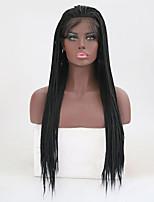 Недорогие -Синтетические кружевные передние парики Прямой тесьма Искусственные волосы Жаропрочная Черный Парик Жен. Длинные Парик из натуральных