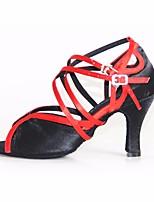 abordables -Mujer Zapatos de Baile Latino Seda Tacones Alto Tacón Stiletto Zapatos de baile Negro / Rojo / Rendimiento / Cuero / Entrenamiento