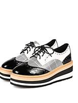 abordables -Femme Chaussures Cuir Printemps été Confort Oxfords Talon Plat Noir