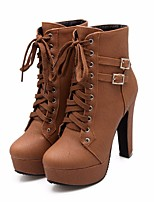 cheap -Women's Shoes PU Fall Winter Combat Boots Boots Platform Booties / Ankle Boots for Casual Black Beige Brown