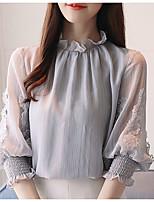 Недорогие -Жен. Вышивка Блуза Классический Однотонный / Цветочный принт