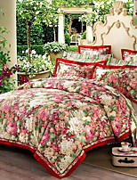 cheap -Duvet Cover Sets Floral Luxury Poly / Cotton 100% Cotton Jacquard 4 Piece