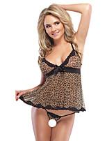 baratos -Mulheres Conjunto Roupa de Noite - Com Transparência, Leopardo