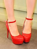 abordables -Femme Chaussures Polyuréthane Printemps Escarpin Basique Chaussures à Talons Talon Aiguille Bout rond Boucle Noir / Rouge / Bleu