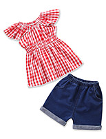 cheap -Toddler Girls' Houndstooth Short Sleeves Clothing Set