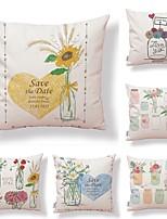 abordables -6 pcs Tissu / Coton / Lin Taie d'oreiller, Fleur / Décoration artistique / Imprimé Forme carrée / Décoratif