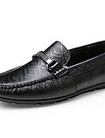 Недорогие -Муж. обувь Кожа Осень Удобная обувь Мокасины и Свитер Черный
