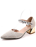 cheap -Women's Shoes Oxford Summer Ankle Strap Heels Walking Shoes Chunky Heel Pointed Toe Black / Beige