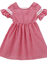 cheap -Kids Girls' Check Short Sleeve Dress
