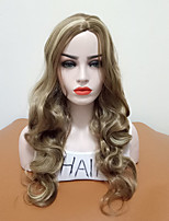 cheap -Synthetic Wig Wavy Layered Haircut Middle Part Highlighted / Balayage Hair Women Brown Women's Capless Cosplay Wig Long Synthetic Hair