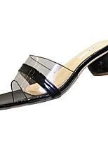 cheap -Women's Shoes PU(Polyurethane) Summer Comfort Slippers & Flip-Flops Chunky Heel White / Black