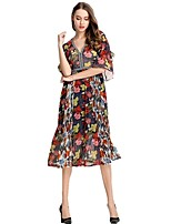 cheap -SHE IN SUN Women's Chinoiserie Flare Sleeve A Line Dress - Floral / Geometric Print