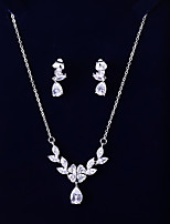 cheap -Women's Cubic Zirconia Jewelry Set - Leaf, Drop Fashion, Elegant Include Drop Earrings / Pendant Necklace White For Wedding / Evening Party