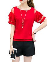 abordables -Tee-shirt Femme, Couleur Pleine Mince