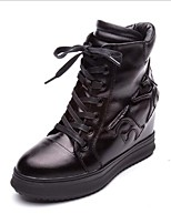 cheap -Women's Shoes Leather Winter Comfort Boots Wedge Heel Black