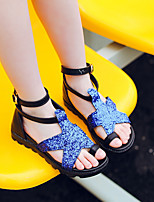 cheap -Girls' Shoes Synthetic Microfiber PU Spring Summer Flower Girl Shoes Sandals for Casual Gold Black Silver Blue