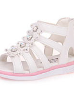 cheap -Girls' Shoes Leatherette Summer Flower Girl Shoes Comfort Sandals for Outdoor White Fuchsia Pink