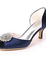 abordables -Femme Chaussures Satin Printemps été Escarpin Basique Chaussures de mariage Talon Aiguille Bout ouvert Strass pour Mariage Soirée &