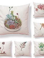 cheap -6 pcs Textile / Cotton / Linen Pillow case, Floral / Art Deco / Printing Simple / Square Shaped