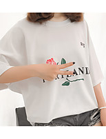 cheap -Women's Plus Size Cotton Loose T-shirt - Letter