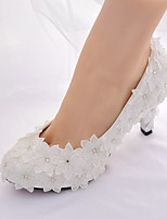 abordables -Femme Chaussures Dentelle Printemps été A Bride Arrière / Escarpin Basique Chaussures de mariage Talon Aiguille Bout rond Strass Blanc