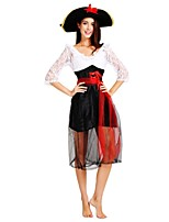 cheap -Pirates of the Caribbean Outfits Women's Halloween / Carnival / Day of the Dead Festival / Holiday Halloween Costumes Black Solid Colored