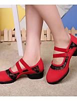 cheap -Women's Jazz Shoes Velvet Heel Performance / Practice Chunky Heel Dance Shoes Black / Red / Green