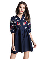 cheap -SHE IN SUN Women's Chinoiserie Shift Dress - Solid Colored Embroidered