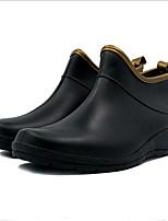 abordables -Femme Chaussures Similicuir Printemps été Bottes de pluie Bottes Talon Plat Bout rond pour De plein air Noir